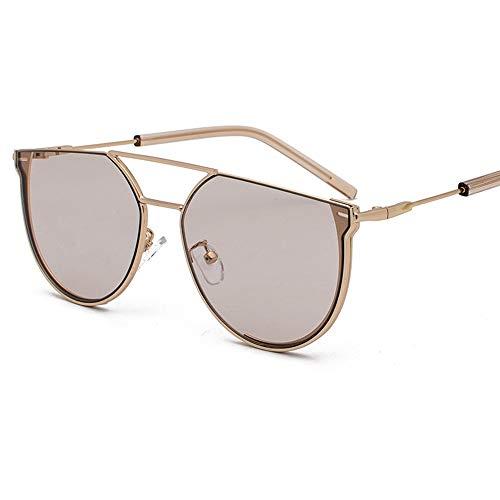 XFSE Gafas de sol con forma de semicírculo para mujer, de metal, retro, protección UV400, marco dorado (color: marrón)