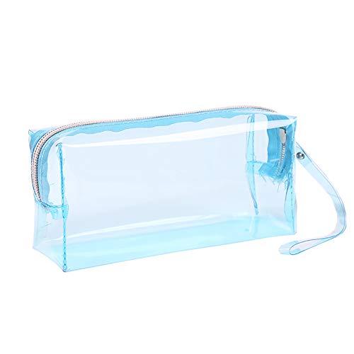 JIHUOO Estuche transparente de gran capacidad para lápices, estuche transparente, bolsa de papelería, caja para adolescentes y niños (azul)