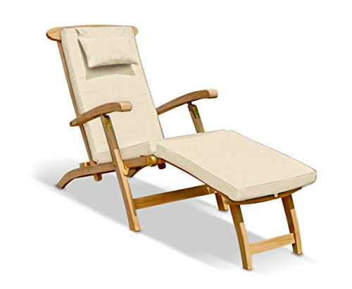 Jati Serenity Teak Steamer Chair with Cushion (Natural) Brand, Quality & Value