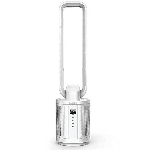 ZLZNX Ventilador De Torre con Filtro De Aire, Ventilador De Pie Sin Aspas Súper Silencioso, 9 Velocidades Ajustables, Sincronización De 12 Horas, Función De Oscilación,Plata