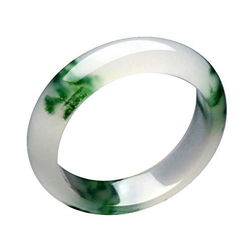 Olydmsky Brazalete de Jade de jadeíta Natural Que atrae la Riqueza y la Buena Suerte, Blanco + Verde, Cristal curativo, Cuarzo, Mujeres/Hombres/niñas, Regalos de cumpleaños (56-62mm)
