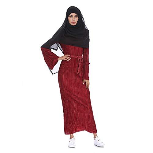 Robe Musulmane Femme Longue, Robes de Abaya Maxi Jupe Rayure Manches Franges Ceinture Col Rond Dubai Kaftan Arab Islamic Jupes Ethnique Ourlet Partie