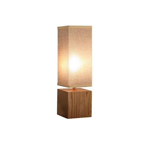 JPVGIA Lámpara de mesa de madera maciza Retro Dormitorio simple Lámpara de escritorio junto a la cama Personalidad creativa japonesa Sala de estar Sala de estudio Hotel Lámpara cuadrada decorativa