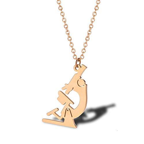Einfache Mikroskop Halskette Damen Titan Stahl Schlüsselbein Kette ZubehörRotgold
