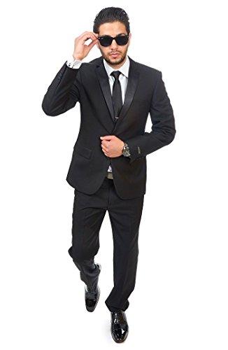 MY'S Mens 3-Piece Suit Shawl Lapel One Button Tuxedo Slim Fit Premium Dinner Jacket Vest Pants & Tie Set Black