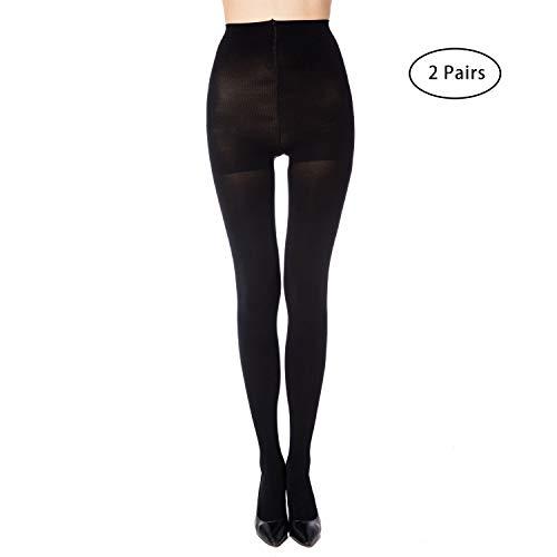 MANZI 2 Pairs Women's Run Resistant Control Top Panty Hose Opaque Tights(Medium,Black)