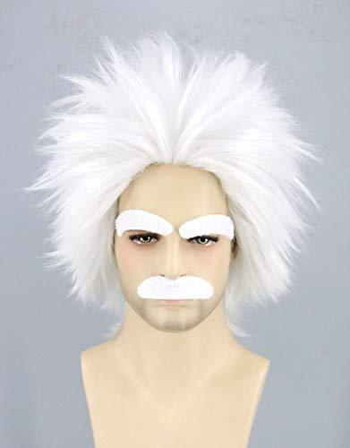 ZMHVOL Cientfico Loco con la Peluca de Vestuario Cosplay Blanca Bigote Cejas Einstein Peluca Corta de Halloween Pelucas (Blanco) ZDWN (Color : White)
