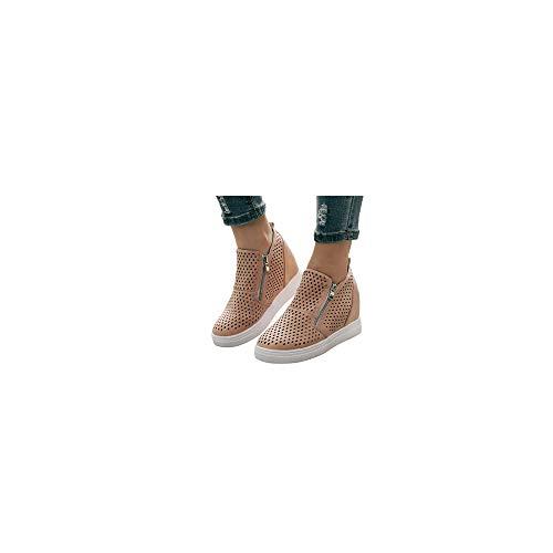 Mokassin Stiefel Damen Stiefeletten Plateau Loafer Keilabsatz Slip On mit Zwei Reißverschluss, Frauen Slipper Bequeme Freizeitschuhe Leichte Atmungsaktiv Halbschuhe Celucke (Pink, 38 EU)
