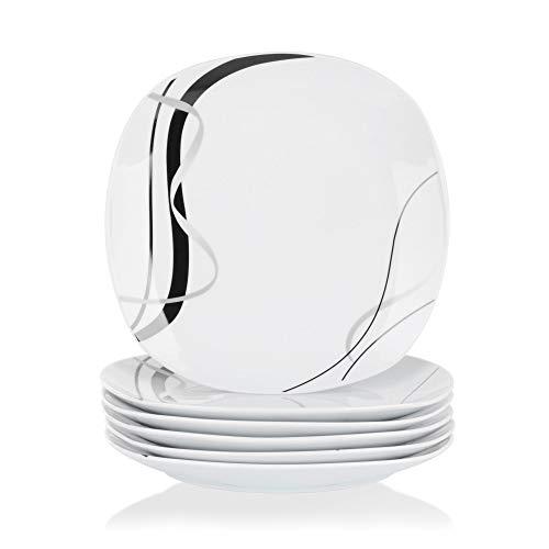 VEWEET Porzellan Dessertteller 'Fiona' 6-teilig Set | Durchmesser 19,2 cm | Ergänzung zum Tafelservice 'Fiona' | Kuchenteller für 6 Personen
