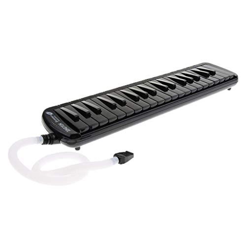 Tastiera professionale per pianoforte melodica a 37 tasti, fornita con borsa, bocchino, tubo e panno, Nero