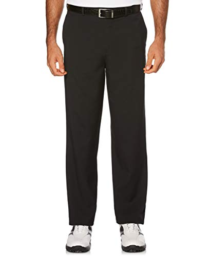 PGA TOUR Men's Flat Front Golf Pant with Expandable Waistband, Caviar, 32W x 30L