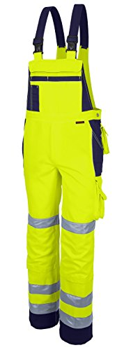 Qualitex Warnschutz-Latzhose Arbeits-Hose PRO MG 245 - gelb/marine - Größe: 66