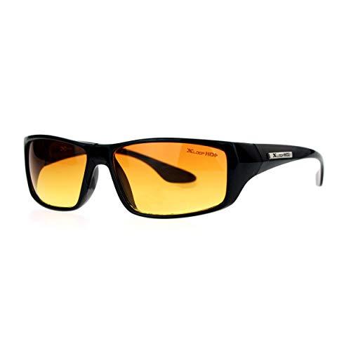 Xloop Mens HD Driving Amber Lens Rectangular Plastic Sport Sunglasses Black