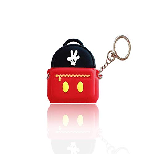 for Airpods 1&2 Silicone Case,3D Fun Cute Stylish Trendy Character Design Shockproof Keychain Cartoon Backpack Airpods Case,for Girl and Boys it is The Best Gift for Teenagers(Red Black)