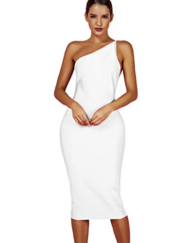whoinshop Women's One Shoulder Bandage Evening Knee Length Cocktail Party Dress (S, White)