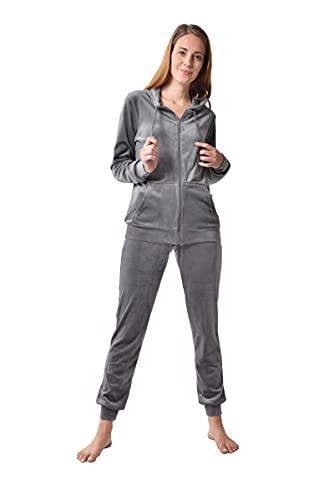 RAIKOU Damen Hausanzug Trainingsanzug Velours Nicki Freizeitanzug Jogginganzug Schlafanzug Kapuzenpullover mit Reißverschluss Hose mit Kordelzug und Taschen (Grau,40/42)