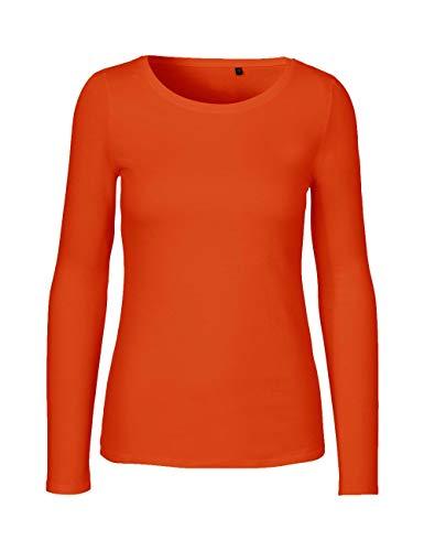Green Cat - Camiseta de manga larga para mujer, 100% algodón orgánico. Certificado Fairtrade, Oeko-Tex y Ecolabel naranja XL