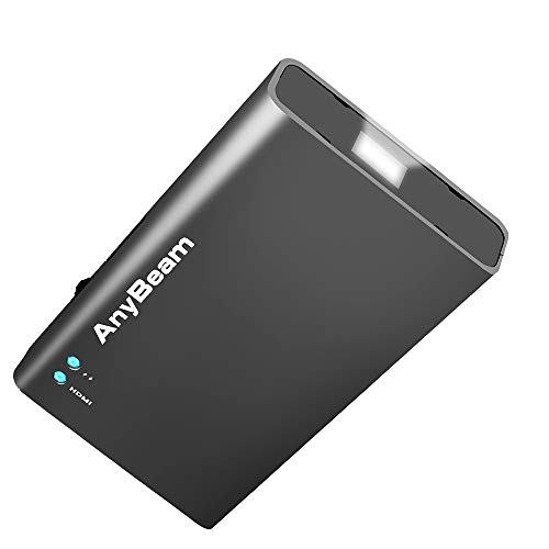 AnyBeam Pico Mini Portable Pocket Projector, Focus-Free, Laser Scanning, Lightweight, Compatible with iPhone, iPad, Android, Laptop, Tablet, PC, Gaming Console, for Party, Home and Sport Watching