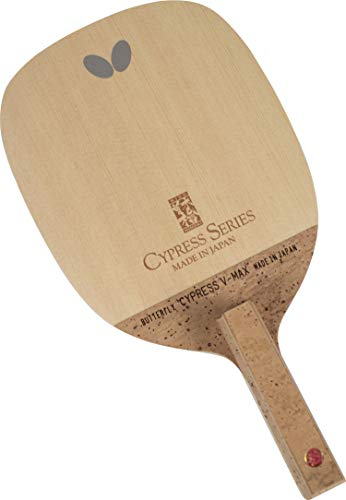 Butterfly Cypress V-Max S Table Tennis Blade - 1-ply Kiso Hinoki Blade - Japanese Style Penhold Blade - Professional Table Tennis Blade - Made in Japan