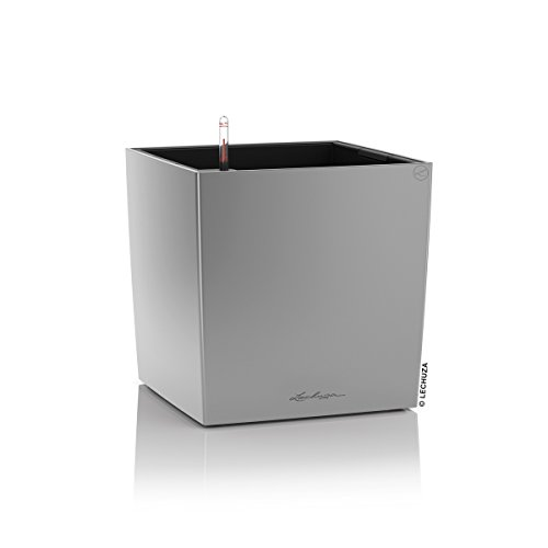 Lechuza Pflanztrog Cube 40 Silber metallic 16368