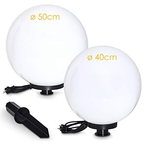 Kugelleuchte Miau, Kugellampe 2er Set, Außenleuchten aus weißem Kunststoff Ø 40 und 50 cm, Leuchtkugeln mit E27-Fassung, Kugellampen mit 5 Meter Zuleitung