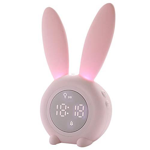 ZDYS Wecker Temperaturanzeige Snoozing Sleep Trainer Kinder Kinder Digitales Nachtlicht Geschenke Touch Control Kaninchenförmiges wiederaufladbares Thermometer Multifunktional(Rosa)