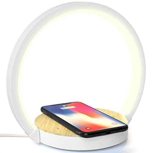 Lampada da Scrivania Tavolo LED Comodino con Caricatore Wireless Caricabatterie QI Senza Fili 10W 3 Livelli Luminosità Touch Control Indicatore di Ricarica (10W)