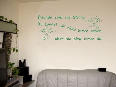 Wandtattoo / Wandaufkleber Zitat Freunde sind wie Sterne, …; Farbe Grün