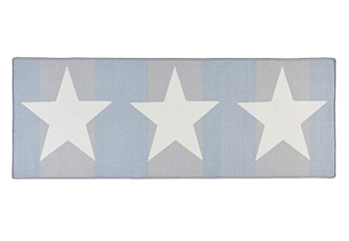 Hanse Home 102373 Teppichläufer, Polyamid, weiß / blau, 67 x 180 x 0.8 cm
