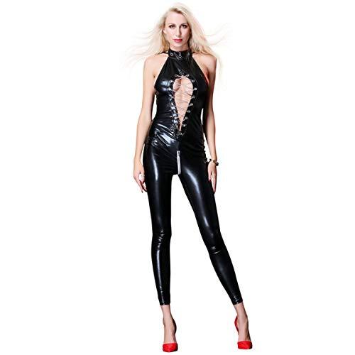 Body sin Mangas Mujer Elástico Moda Sexy Lencería Slim Fit Bodysuit Erótica Bodycon Tops Fiesta Casual Traje de Noche Club Danza Baile Mono con Cremallera Huecos Clubwear,Black,XL