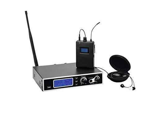 Omnitronic IEM-1000 In-Ear-Monitoring-Set inkl. stationärer Stereo-UHF-Sender, Taschenempfänger und Ohrhörer | Betrieb in Duplexlücke 823-832 MHz