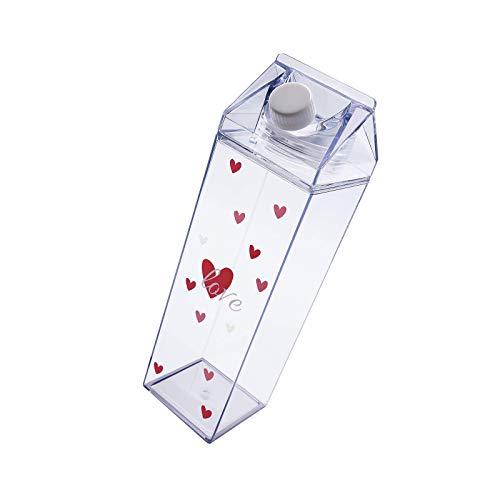 litulituhallo Botella de agua del patrón del amor del cartón de la leche, botella plástica transparente del jugo de agua a prueba de fugas (500Ml)