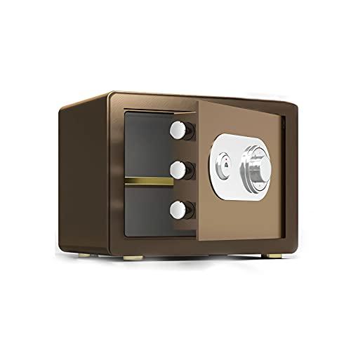 GLXYTT Inicio Caja Fuerte Personal, Caja Fuerte, Seguridad Digital Caja Fuerte para Dinero Joyas Arma Documentos En Efectivo,Marrón,25cm