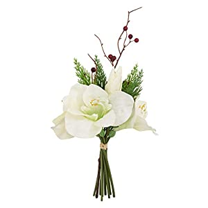 SARO LIFESTYLE Amaryllis Bunch Collection Artificial Flowers, White