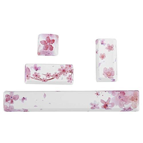 ASHATA-Profil-Tastenkappen-Set, DIY-Tastenkappen mit Sakura-Muster Leertaste + ESC-Taste + Eingabetaste + Zifferntaste Tastenkappe für mechanische Tastatur, langlebig und verschleißfest(Tastenkappe)