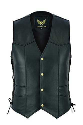 Leatherick Chaleco de Cuero Real para Hombre con Encaje Lateral Estilo Motero Moda Casual