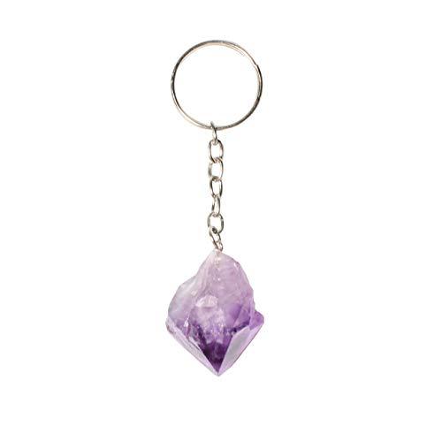 Amethyst Crystal Point Keychain Natural Raw Stone - Crystal Healing Keychains - Healing Crystals - Reiki Chakra Healing
