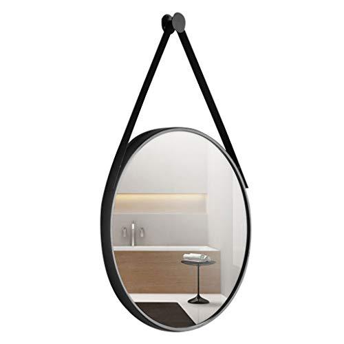 Espejo para Colgar en la Pared de Oro de 15.7 Pulgadas Decor Round Mirror Espejo de Metal Circular montado en la Pared con Cadena de Hierro Forjado para el Cuarto de baño de la casa, Negro