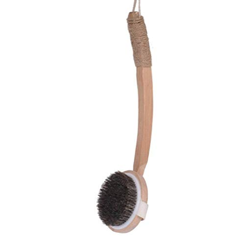 背中が洗いやすい ボディブラシ 天然素材100% 馬毛 背中ニキビ 体洗いロングブラシ