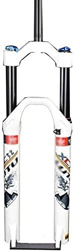 HXJZJ 26er 27.5er 29er MTB Suspension Forks, Air Fork Mountain Bike Shock Fork Aluminum Alloy Disc Brake Travel 123mm 1-1/8',White-26inch