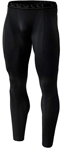TSLA Men's Thermal Wintergear Compression Baselayer Pants Leggings Tights, Thermal Athletic(yup43) - Black, Large