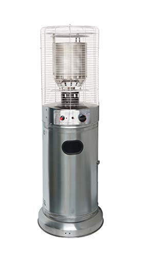 Freestanding Bullet Style Outdoor Gas Patio Heater 5-11kW - Stainless Steel Safety Cage & Casing. For Gardens/Patios