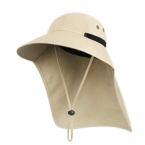 Sombreros de Pescador para el Sol Hombres Mujeres, Gorra para el Sol, Sombreros Transpirables, ala Ancha para Proteger el Cuello, adecuados para Senderismo al Aire Libre, Correr, Escalada(Caqui)