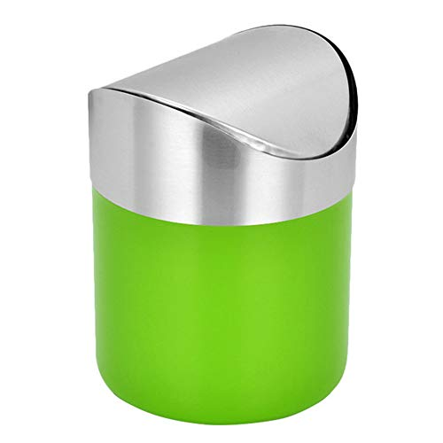 Slaapkamer Bin GJDBBLY 1.5L Mini Staande Prullenbak Keuken En Toilet Vuilnisbak Stalen Afvalbak 16 * 12 * 12.3cm Groen