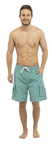 Short de bain pour homme Uni avec poche Cargo - Vert - Medium