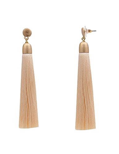 Leslii Damenohrringe Troddel Ohrringe Ohrstecker lange Modeschmuck Quasten Textil Bommel hängend 8cm in Beige Gold