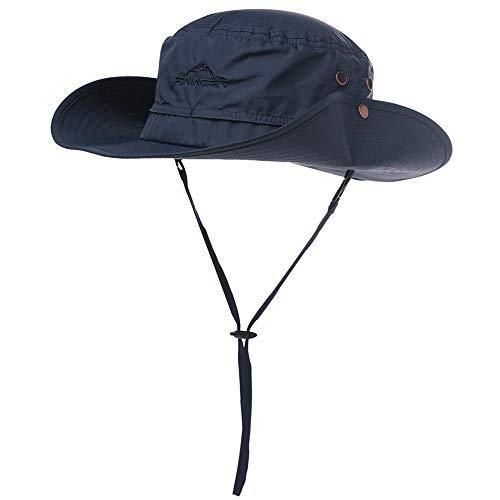 Chapeau de soleil UPF 50 à large bord en maille filet protection UV Chapeau de safari pour la pêche, la marche, la randonnée, le Boonie Chapeaux pour homme avec sangle de menton imperméable et respirant - Bleu - Medium