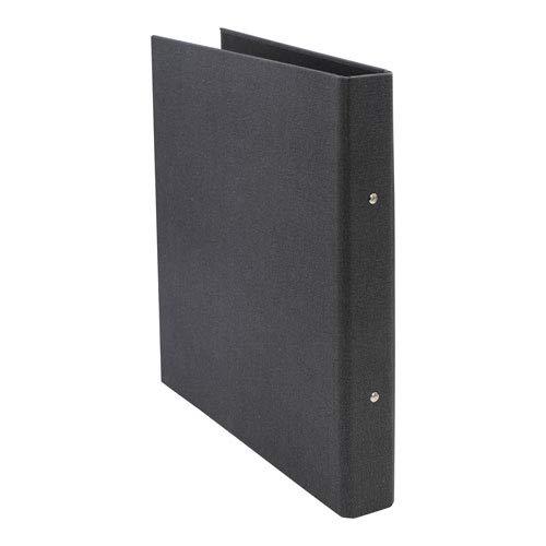 Bigso Box of Sweden Ringbuch mit 2 Ringen – schmaler Ordner aus Faserplatte und Papier mit Leinenoptik – Ringhefter für Dokumente, Klarsichthüllen oder Trennblätter-schwarz