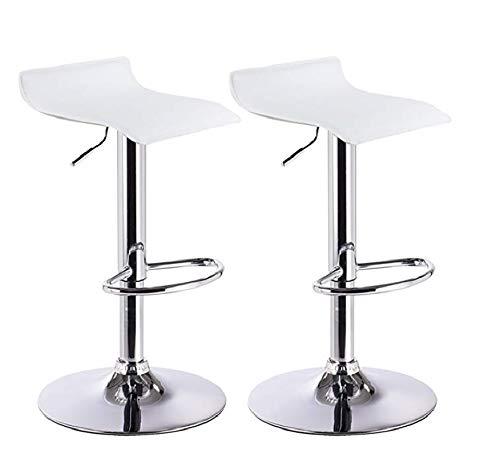 Mueblix | (2X Taburetes Altos de Cocina | Medidas 45x 45x H65-87 cm | Taburete Cocina Alto | Silla Giratoria y Regulable en Altura | Color Blanco y Cromado | Modelo Andes