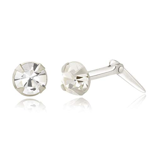 Sterling silver 3.5mm round White crystal Andralok stud earrings/Gift box
